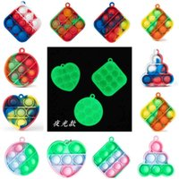 Push Puzzle Toy Key Chain Fidget Bubble Decompression Toys Rainbow Kids Adult Anxiety Stress Reliever Pendant G50ZQ43