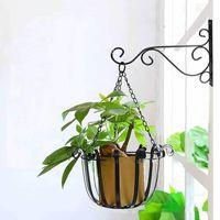 Wall Mounted Floating Shelves Indoor And Outdoor Type Plant Pot Hanging Bracket Hanger Metal Hook Flower Rack #P2 Hooks & Rails