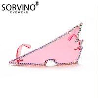 Triángulo invertido de gran tamaño Gafas de sol sin marco Ladies de gama alta de punta de diamante retro conjuntos de diamante.