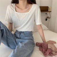 Women's T-Shirt Short-sleeved Tops Summer Loose Solid Square Collar T-shirts Soft Short Top Women 2021 Streetwear Clothes