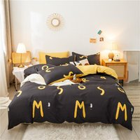 Bedding Sets Modern Stripe Printed Bed Sheet Letter Style Duvet Cover Set With Pillowcase 220x240cm King Size Queen Bedclothes