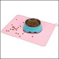 Bowls Feeders Supplies Home & Garden31*41Cm Dog Cat Feeding Sile Pad Mticolor Non-Slip Waterproof Pet Food Feeder Practical Tableware Animal