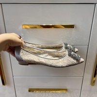 Zapatos de copo de nieve de encaje de zapatos para mujer zapatos de vestir de tacón plano de tacón alto con diamantes de imitación con hilado transpirable elegante neto de calidad superior de moda clásico