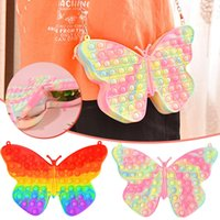 Fidget Toys Butterfly Simple Dimple Chain Cross Bag Colorful Push Bubble keyboard Sensory Squishy Stress Reliever Autism Needs Anti-stress Rainbow Adult Children