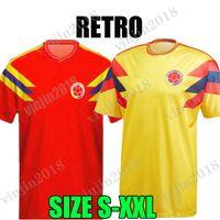 1990 كولومبيا الرجعية لكرة القدم الفانيلة رجل Valderrama Gurrero Escobar Memoria Home Thousehouse قميص كرة القدم الكلاسيكية زي مايلوت دي القدم