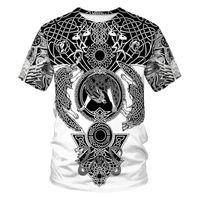 Men's T-Shirts 2021 Fashion Men Hoodies 3D Printed Viking Tattoo T Shirt Tees Shorts Sleeve Apparel Unisex Norse Cosplay Funny Streetwear