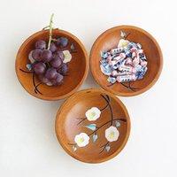 Круглые деревянные плиты высокого качества деревянные посуды посуда для торт салат закуски сахар AHF5877