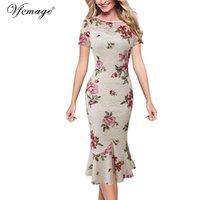 Vfemage para mujer elegante vintage floral encaje leopardo otoño oficina negocio noche fiesta bodycon lápiz midi midi vestido 1090 210320