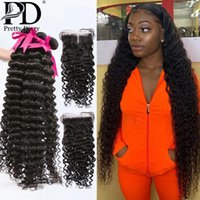 Human Hair Bulks 28 30 40 Inch Deep Wave Weave Bundles With Closure 3 4 Curly Frontal Water
