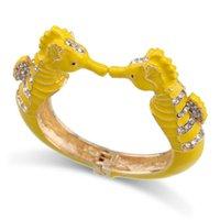 Bangle Fashion Beautiful Sea Horse Statement For Women Girls Gold Plated With Enamel Bracelets Jewelry