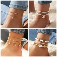 Charm Bracelets Summer Beach Boho Pearl Shell Anklets For Women Butterfly Crystal Ankle Girls Barefoot On Leg Chain Jewelry Gift