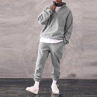 Erkek Eşofmanları 2-piece Eşofman Moda Sonbahar Bahar Katı Renk Hoodies Stand-up Yaka Tulum Rahat Spor Ev Suit