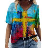 Rahat Gevşek Yaz Çiçek Soyut Boyama 3D Dijital Baskı Tops T-Shirt V Yaka Kadın Seksi Retro Moda T-shirt 210423