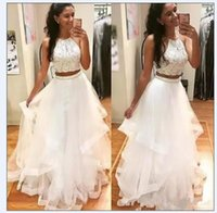 Gorgeous White Prom Dresses Two Piece Beaded Crystals Hater Floor Length Plus Size Tiered Skirt Custom Made Evening Party Gown vestidos