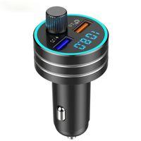 FM Sender Modulator Bluetooth 5.0 Auto Audio MP3-Player Freisprecheinrichtung Car Kit QC3.0 Schnellladung Aluminiumlegierung Dual USB-Autoladegerät