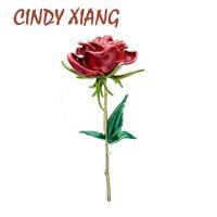 المينا روز سيندي دبابيس للنساء شيانغ سيدة الأزياء الفاخرة زهرة دبوس الربيع الصيف تصميم 4 ألوان availa