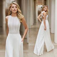 Classic Boho Lace Wedding Jumpsuit Receipt Gowns 2021 Hochzeit Women Elegant crochet chiffon beach bridal pant suit dress