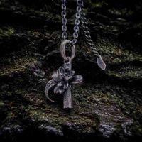 Lotus Fisch Berg Anhänger Mythos Symbiose Druid Geist Blume des Lebens 925 Sterling Silber Anhänger