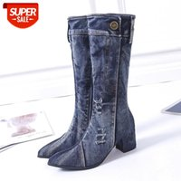 Sexy Jean Mid Calf Boots Women Winter Square Heels Denim Boot 2020 Lady Stylish Boots Zipper Shoes Cowboy Botas De Mujer #lt1X