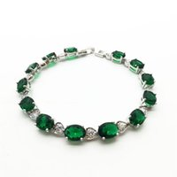 Link, Chain 2021 Bangle Classic Green White Gold Color Semi-Precious Stone Women Charm Bracelets With + Cubic Zirconia