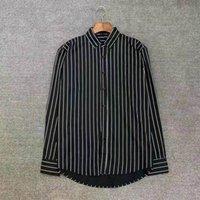 남자 비즈니스 셔츠 디자이너 사용자 정의 럭셔리 고품질 드레스 격자 무늬 편지 인쇄 자수 패턴 주름 방지 통기성 옷