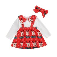 Clothing Sets 3Pcs Children Christmas Outfits Lapel Long-Sleeves Top + Cartoon Printed Suspenders Skirt Hairband Suit For Little Girls
