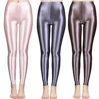 New Satin Glossy Pantyhose Sexy Calze Sexy Shiny Yoga Pants Pants Leggings Sport Collant Donne Fitness Vita alta Vita di collana collantSoCer