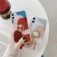 Colorful gold leaf glitter bling tpu phone cases with ring kickstand for iPhone 12 11 pro promax X XS Max 6 6s 7 8 Plus case cover