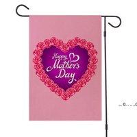 Newhappy Mother's Day Garden Bandera de doble cara arpillera Decoración de jardín Día de la madre Día de la madre Ornamento del patio 47 * 32cm EWD5532