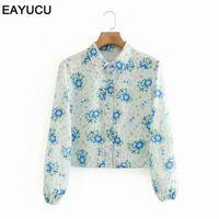 EAYUKU 2020 Herbst Elegante Frauen Tops und Blusen Blumendruck Deaktivieren Kragen Laterne Ärmel Weibliche Bluse Hemd Blusas Et082 I30H #