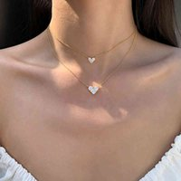 925 Sterling Silver Elegant Diamond Heart-shaped Gold Color Necklace Aaa Shiny Zircon Choker Wedding Gift for Women Fine Jewelry