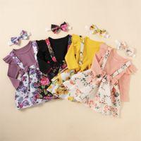 Çocuk giyim setleri bebek düz renk uzun kollu kazak çiçek baskı askı etek kız takım elbise