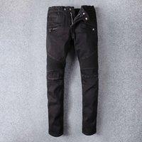 Mens fold skinny 검은 청바지 패션 디자이너 pleated 패널 지퍼 슬림 맞는 오토바이 바이커 힙합 데님 바지 964