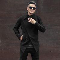 Men's Jackets Designer Mens Irregular Woolen Jacket Buttons Turtleneck Coat High Quality British Business Man Slim Fit Casual Outwear