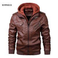 Ruppshch Hommes Cuir Veste Automne Moto PU Casual Casual Capuche Jacket Moto Cadran Coat Manteau Vêtements EU Taille X0721