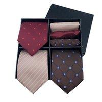 Días de la corbata de los hombres Pocket Square de alto grado de lujo de lujo Poliéster Conjunto de regalo de poliéster de negocios Toalla de corbata formal para el hombre Corbatas