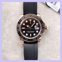 U1 Fabrika ST9 Everose Altın Saatler Yat 116655 40mm Otomatik Mekanik Erkekler İzle Siyah Kadran Dönebilen Çerçeve Master Kauçuk Kayış Erkek Saatı