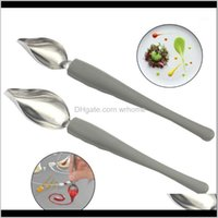 Spoons Flatware Kitchen, Dining Bar & Gardenspoon Chef Anti-Slip Coffee Decoration Stainless Steel Home D Tools Pencil Mini Sauce Painting Ki