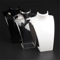 Pantalla de joyería de acrílico de nueva moda 20 * 13.5 * 7,3cm Collares colgantes modelo soporte de soporte blanco claro color negro 171 U2