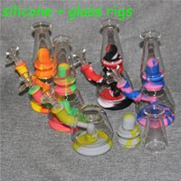 Silicone Hookahs glass water bong 14mm bowl mini bongs detachable silicon protect case bubbler smoking pipes