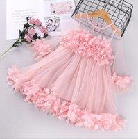 2021 классические летние милые дети девочки платье кружева чистая пряжа лук ленты цветы детский дизайн детские юбка лоскутное платье младенческие подарок на день рождения детей