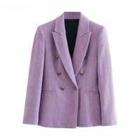 2020 الأزياء مزدوجة الصدر بيربل تويد السترة المرأة مكتب ارتداء أنيقة سترة معطف أنيقة طويلة الأكمام قمم قمم