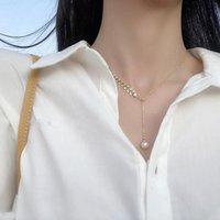 1Pcs Fashion Ins Simple Temperament Wheat Ear Pearl Wild Pendant Necklace Female Tide High Sense Clavicle Chain Chains