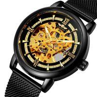 T-Winner Hombres Relojes de pulsera Malla de oro Correa de acero inoxidable Esqueleto Mecánico Mecánico Reloj Reloj Reloj de pulsera