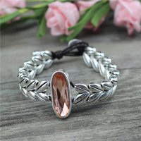 Charm Bracelets Anslow Fashion Jewelry Promotion Creative Design Wheat Ears Handmade DIY Leather Bracelet For Women Girls Accessory LOW0842L