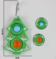 Flip the bubble keychain fidget toy Christmas Trees push-bubble simple dimple anti stress relief key chain trinket sensory autism anxiety toys Christmas-present