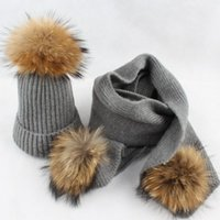 Hats, Scarves & Gloves Sets Real Fur Adult Knitting Wool Hat Scarf Set With Raccoon Pompoms Ball Cap Family Look Parenting Lovely Beanie Win