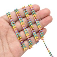 2 feet Enamel Brass Chevron Chain 6MM Gold Plated Arrow Chains for Anklet Necklace Bracelet Jewelry Making Findings 1095 T2