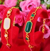Link, Chain Hi 2pcs lot Classic Stone Female 24k Gold Hand Party Friend Birthday Gift Girl Fine Jewelry Womens Bracelet