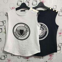 Bayan Tasarımcı T Shirt Yaz Para Baskı Kolsuz Tank Bayanlar Yüksek Kalite Kısa Kollu Mektup Baskılar Giyim